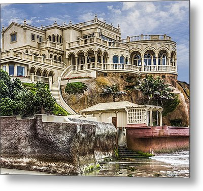 Metal Print featuring the digital art 00003 La Jolla Beach Mansion by Photographic Art by Russel Ray Photos