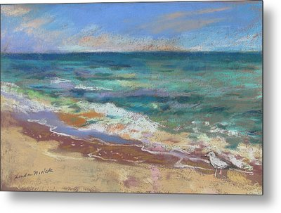 Metal Print featuring the painting Beach Meditation by Linda Novick