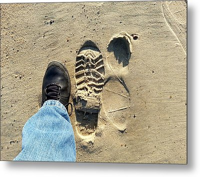 Beach Of Big Feet Metal Print