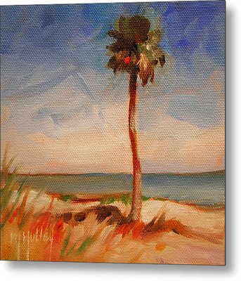 Beach Palm Tree Metal Print by Mary Hubley