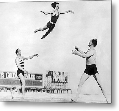 Beach Performers Toss Woman Metal Print
