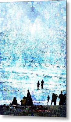 Beach Scene Expressions Metal Print by John Fish
