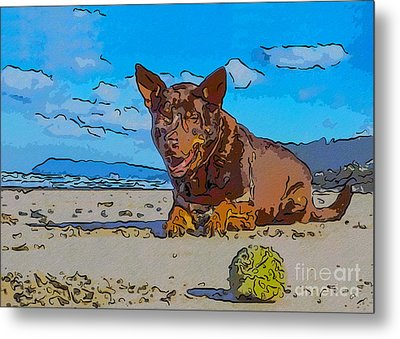 Beach Scout Abstract Dog Art By Omaste Witkowski Metal Print