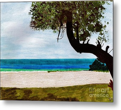 Metal Print featuring the drawing Beach Side by D Hackett