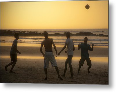 Beach Soccer At Sunset Metal Print