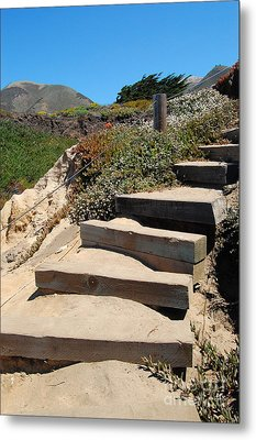 Metal Print featuring the photograph Beach Stairs Big Sur by Debra Thompson