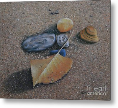 Metal Print featuring the painting Beach Still Life IIi by Pamela Clements