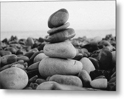 Beach Stones - 3 Metal Print by Jane M
