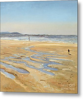 Beach Strollers  Metal Print by Timothy  Easton