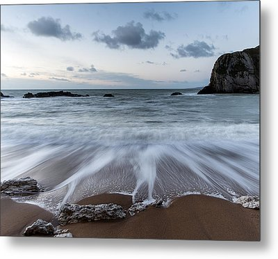 Beach Sunrise Landscape With Long Exposure Waves Movement Metal Print by Matthew Gibson