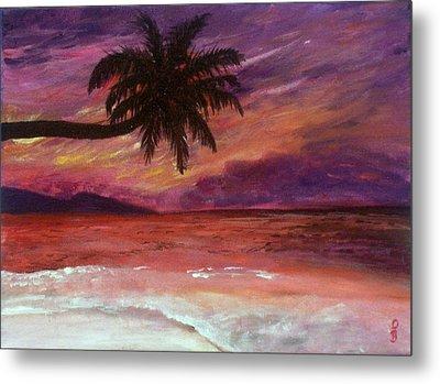 Metal Print featuring the painting Beach Sunset by Debbie Baker