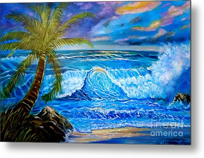 Metal Print featuring the painting Beach Sunset In Hawaii by Jenny Lee