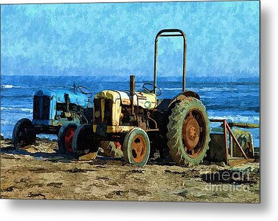 Metal Print featuring the photograph Beach Tractors Photo Art by Les Bell