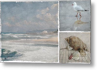 Beach Triptych 1 Metal Print by Linda Lees