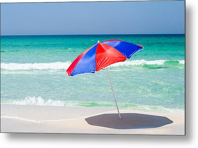 Beach Umbrella Metal Print by Shelby  Young