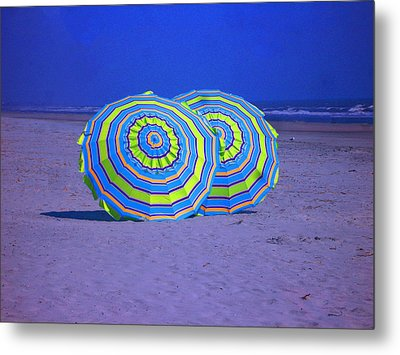 Beach Umbrellas By Jan Marvin Studios Metal Print