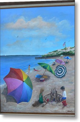 Beach Umbrellas Metal Print by Catherine Hamill