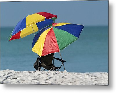Beach Umbrellas Metal Print by Gerald Marella