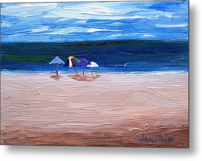 Metal Print featuring the painting Beach Umbrellas by Jamie Frier