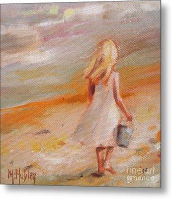 Beach Walk Girl Metal Print by Mary Hubley
