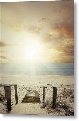 Beach Walkway Metal Print by Les Cunliffe