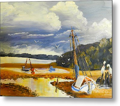 Metal Print featuring the painting Beached Boat And Fishing Boat At Gippsland Lake by Pamela  Meredith