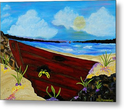 Metal Print featuring the painting Beached by Celeste Manning