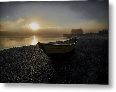 Beached Dory In Lifting Fog  Metal Print by Marty Saccone