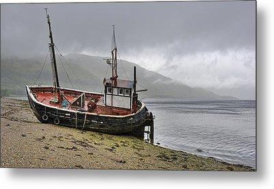 Beached Fishing Boat Metal Print