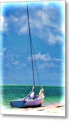 Metal Print featuring the photograph Beached Sailboat by Pamela Blizzard
