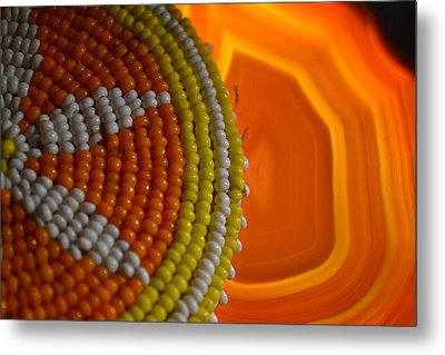 Beaded Flower And Agate Metal Print by Chad Wasden
