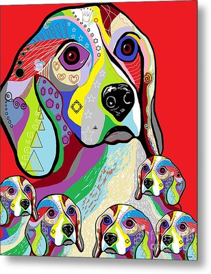 Beagle And Babies Metal Print by Eloise Schneider