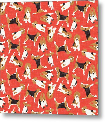 Beagle Scatter Coral Red Metal Print