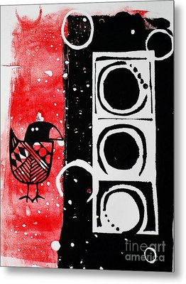 Metal Print featuring the painting Beak In Red And Black by Cynthia Lagoudakis