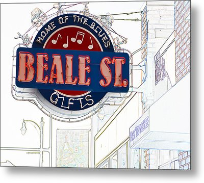 Beale Street Home Of The Blues Metal Print by Liz Leyden