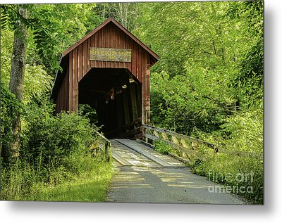 Bean Blossom Covered Bridge Metal Print by Mary Carol Story