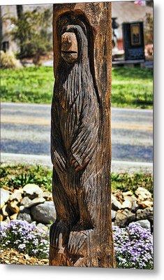 Bear Carving Metal Print