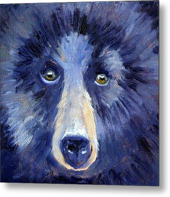 Bear Face Metal Print by Nancy Merkle