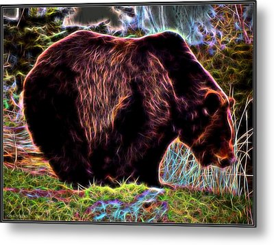 Colorful Grizzly Metal Print