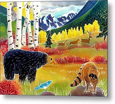 Bear Meets Raccoon Metal Print by Harriet Peck Taylor