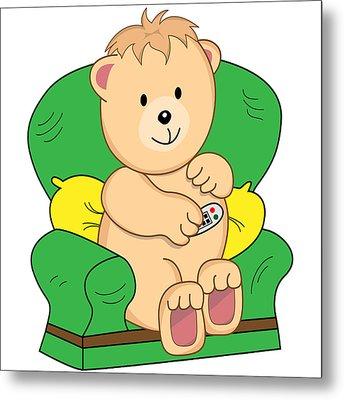 Bear Sat In Armchair Cartoon Metal Print