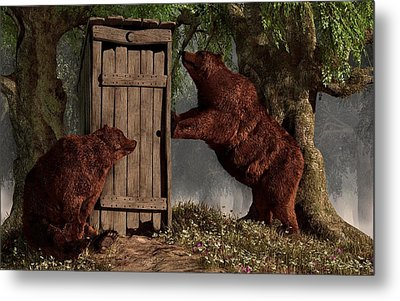 Bears Around The Outhouse Metal Print