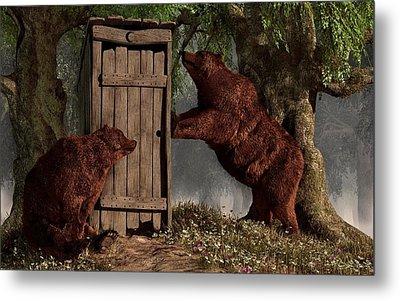 Bears Around The Outhouse Metal Print by Daniel Eskridge