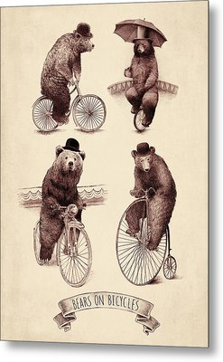 Bears On Bicycles Metal Print