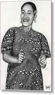 Metal Print featuring the drawing Beat Woman by Lew Davis