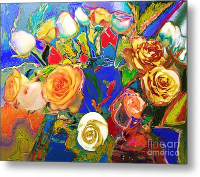 Beatles Flowers Abstract Metal Print