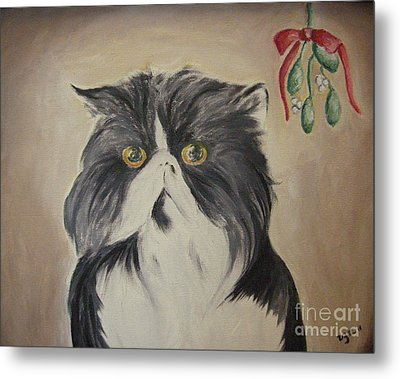 Beau With Mistletoe Metal Print by Victoria Lakes