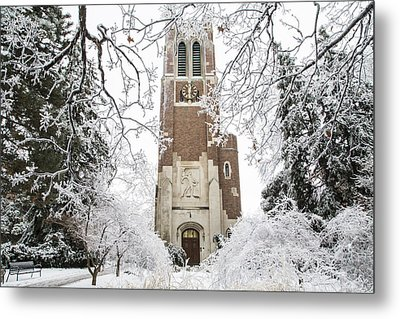 Beaumont Tower Ice Storm  Metal Print