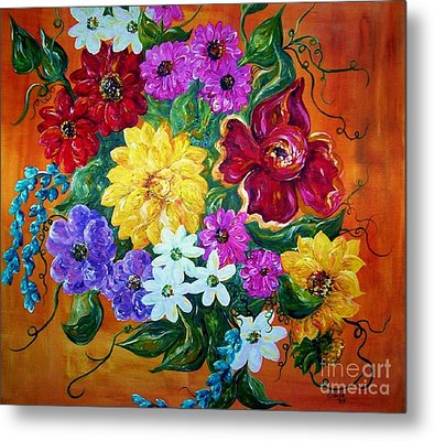 Metal Print featuring the painting Beauties In Bloom by Eloise Schneider
