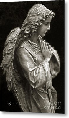 Beautiful Angel Praying Hands Christian Art Print Metal Print by Kathy Fornal